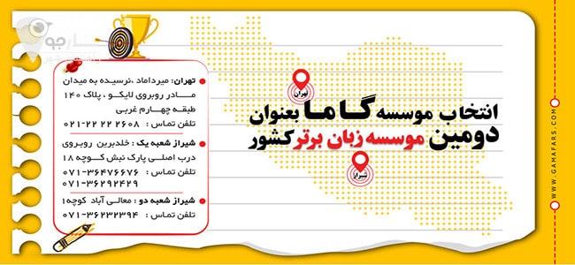 موسسه زبان گاما شیراز بهترین آموزشگاه آموزش زبان شیراز است